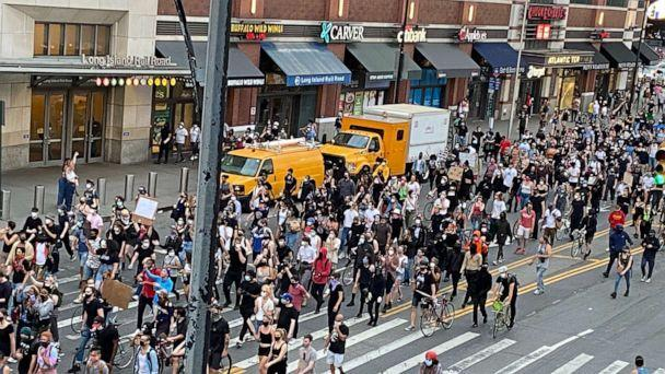 PHOTO: Protesters who sing? No justice, no peace? March Against Death in George Floyd Police Custody in Minneapolis on Flatbush Avenue in Brooklyn towards Manhattan Bridge in New York, USA, May 30, 2020. (Jonathan Oatis / Reuters)