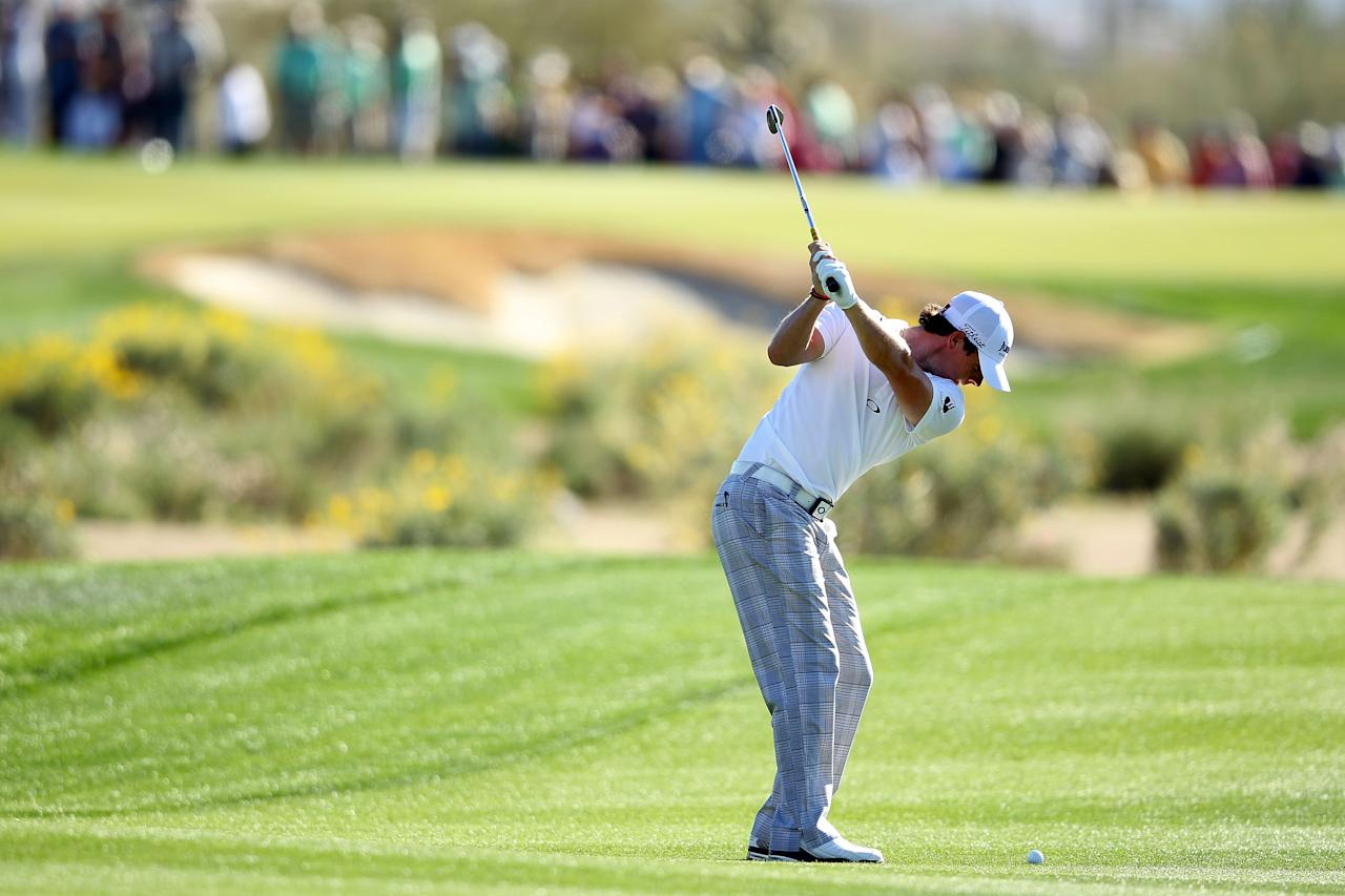 MARANA, AZ - FEBRUARY 24: Rory McIlroy of Northern Ireland hits a shot on the 17th hole during the third round of the World Golf Championships-Accenture Match Play Championship at the Ritz-Carlton Golf Club on February 24, 2012 in Marana, Arizona.  (Photo by Andy Lyons/Getty Images)