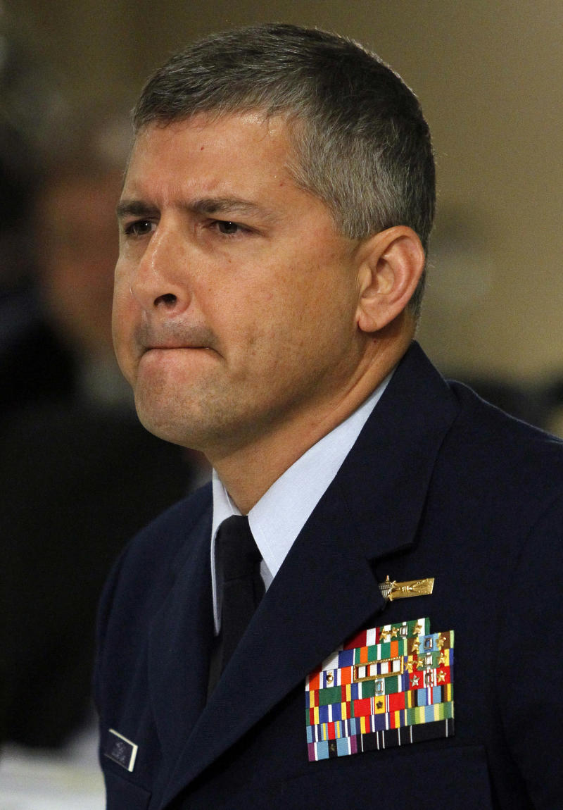 **CORRECTS NAME TO BUREAU, NOT DEPARTMENT, OF OCEAN MANAGEMENT, REGULATION AND ENFORCEMENT**U.S. Coast Guard Capt. James Hanzalik testifies on his agency's response to the Deepwater Horizon oil rig explosion during joint investigation hearings held by the Coast Guard and the Bureau of Ocean Management Regulation and Enforcement in Metairie, La., Monday, Oct. 4, 2010. (AP Photo/Patrick Semansky, Pool)