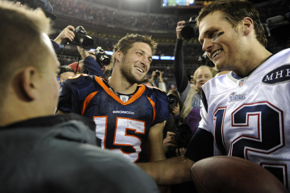 Denver Broncos quarterback Tim Tebow (15) is one of 27 quarterbacks to face Tom Brady in the playoffs and come up short. (Photo By AAron Ontiveroz/The Denver Post via Getty Images)