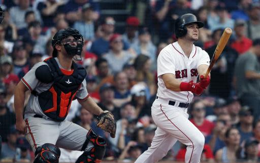 Boston Red Sox's Andrew Benintendi, right, watches his two-run home run in front of Baltimore Orioles' Andrew Susac, left, during the fifth inning of a baseball game in Boston, Sunday, May 20, 2018. (AP Photo/Michael Dwyer)