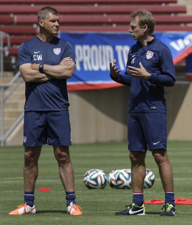 United States soccer coach Jrgen Klinsmann, right, speaks with goalie coach Chris Woods during training in preparation for the World Cup soccer tournament on Thursday, May 22, 2014, in Stanford, Calif. (AP Photo/Ben Margot)