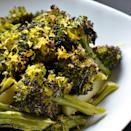 """Bagna càuda, the Italian sauce of anchovies and garlic, is a fantastically flavorful coating for roasted broccoli. <a href=""""https://www.epicurious.com/recipes/food/views/broccoli-bagna-cauda-51217020?mbid=synd_yahoo_rss"""" rel=""""nofollow noopener"""" target=""""_blank"""" data-ylk=""""slk:See recipe."""" class=""""link rapid-noclick-resp"""">See recipe.</a>"""