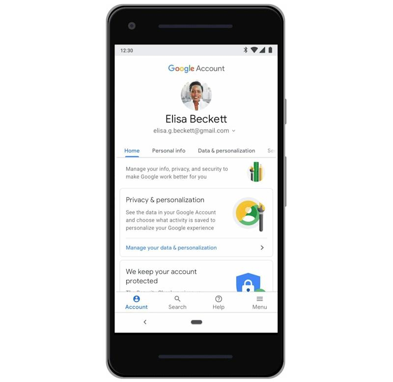 Google will soon let you access all of your data and security settings from one menu. (Image: Google)
