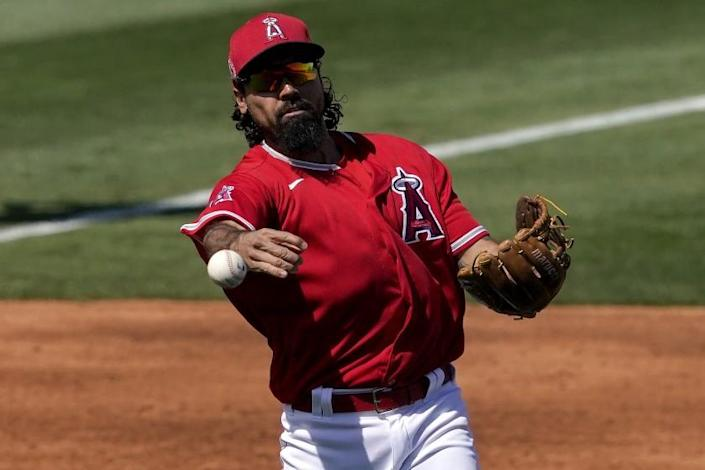 Los Angeles Angels' Anthony Rendon fields a ground out hit by Oakland Athletics' Mark Canha.