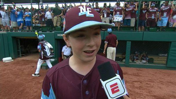 PHOTO: Lucas Tanous, 11, who plays for Rhode Island, speaks to ESPN. (ESPN)