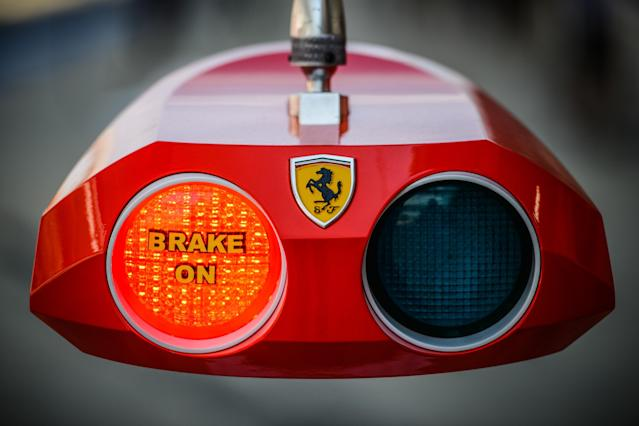 TOPSHOTS A Ferrari red light indicator is seen in the pit lane during the second practice session of the Formula One Korean Grand Prix at the Korean Circuit in Yeongam on October 12, 2012. AFP PHOTO / Philippe LopezPHILIPPE LOPEZ/AFP/GettyImages