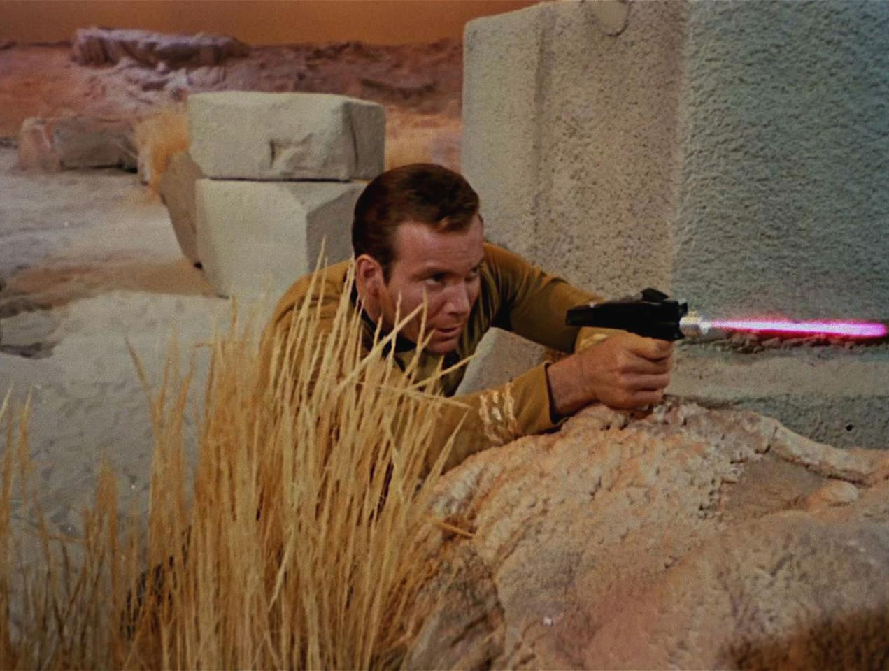 Canadian actor William Shatner as Captain James T. Kirk shoots a phaser in a scene from 'The Man Trap,' the premiere episode of 'Star Trek,' which aired on September 8, 1966. (Photo by CBS Photo Archive/Getty Images)