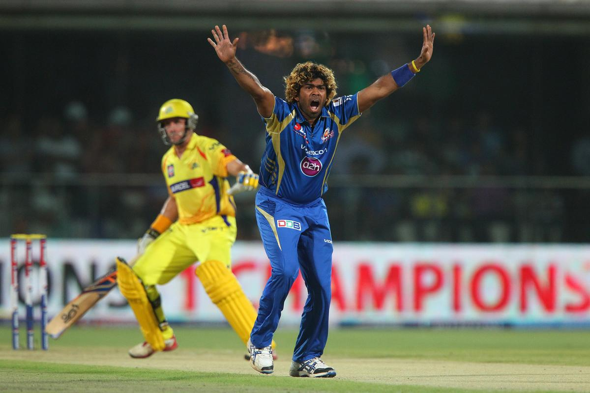 Lasith Malinga appeals for the wicket of Michael Hussey during the qualifier 1 match of the 2013 Pepsi Indian Premier League between The Chennai Superkings and the Mumbai Indians held at the Feroz Shah Kotla Stadium, Delhi on the 21st May 2013..Photo by Ron Gaunt-IPL-SPORTZPICS    ..Use of this image is subject to the terms and conditions as outlined by the BCCI. These terms can be found by following this link:..https://ec.yimg.com/ec?url=http%3a%2f%2fwww.sportzpics.co.za%2fimage%2fI0000SoRagM2cIEc&t=1498629250&sig=sDO5D4AleDsuznyvCnHggQ--~C