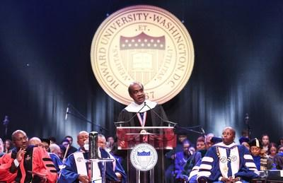 """The Honorable Isiah """"Ike"""" Leggett, former Montgomery County executive, delivers the keynote address at Howard University's Opening Convocation."""