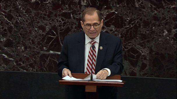 PHOTO: Jerry Nadler speaks on the Senate floor during the impeachment trial of President Donald Trump, Jan. 23, 2020, in Washington, DC. (ABC News)