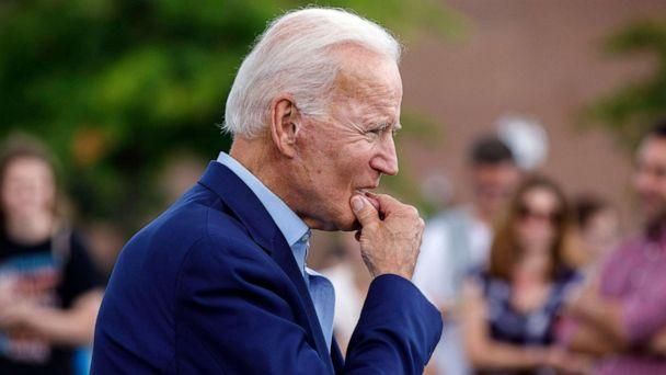 PHOTO: Democratic presidential candidate and former Vice President Joe Biden approaches reporters to answer questions following a campaign stop at Lindy's Diner in Keene, N.H., Aug. 24, 2019. (Michael Dwyer/AP, FILE)