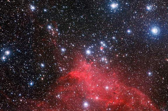 The Wide Field Imager on the MPG/ESO 2.2-metre telescope at ESO's La Silla Observatory in Chile has captured the best image so far of the star cluster NGC 3572, a gathering of young stars, and its spectacular surroundings. Image released Nov. 1