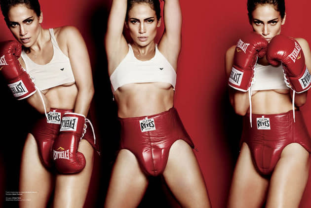 """Celebrity photos: Jennifer Lopez posed for a photo-shoot dressed as a boxer. During the interview she explained that she's a 'tough girl' from the Bronx: """"I can take a lot of punches. I keep going. I've been trained like a boxer to go 15 rounds."""""""