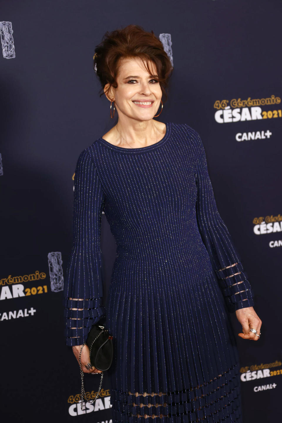 <p>Fanny Ardant arrives a choisi une longue robe bleu marine à la jupe transparente. (Photo by Thomas Samson/Pool/Getty Images)</p>