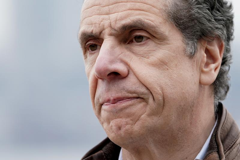 New York governor Andrew Cuomo speaks as the USNS Comfort pulls into a berth in Manhattan during the outbreak of coronavirus disease (COVID-19), in the Manhattan borough of New York City, New York, U.S., March 30, 2020. REUTERS/Carlo Allegri
