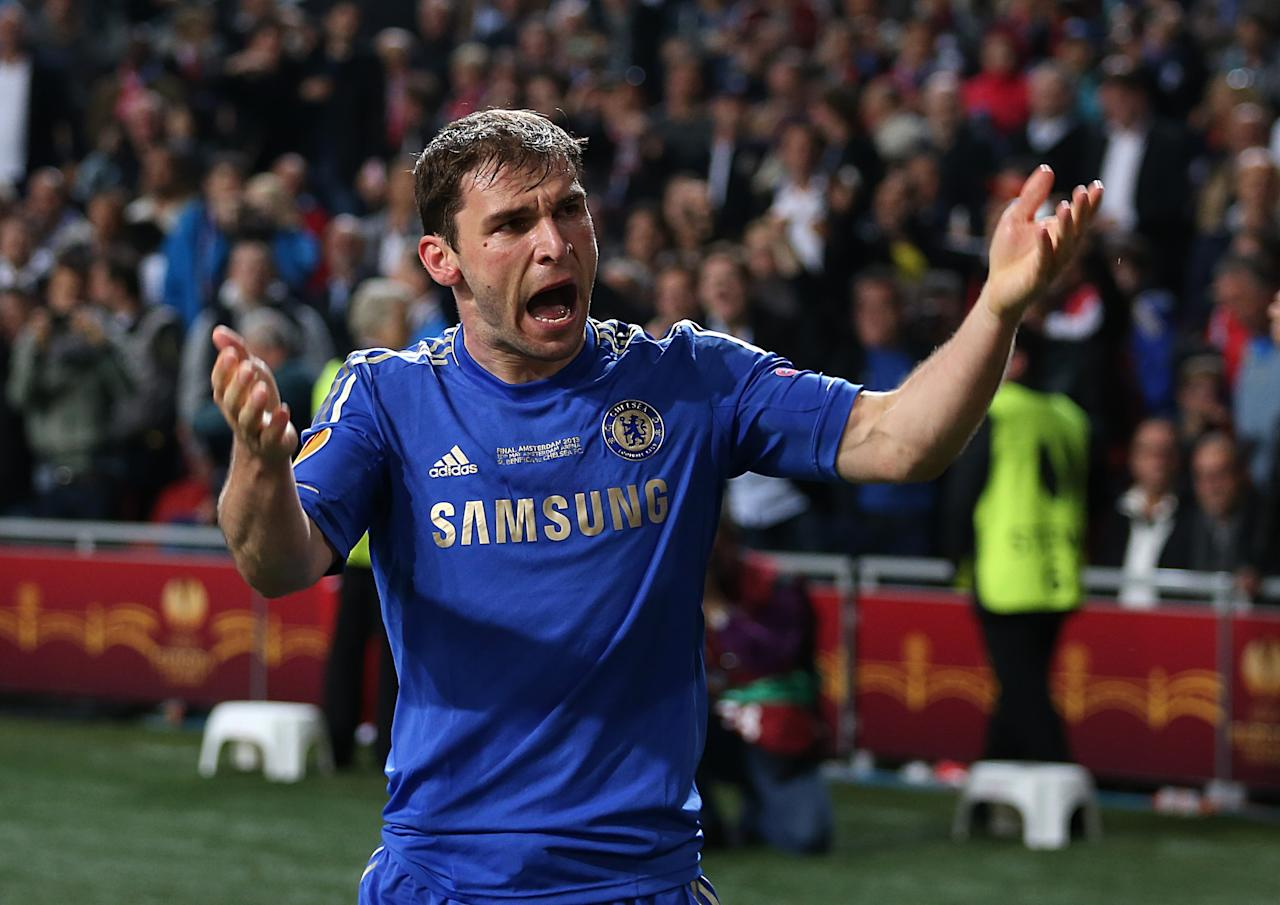 Chelsea's Branislav Ivanovic celebrates scoring the winning goal