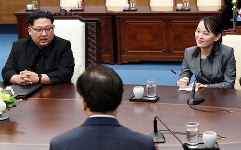 <span>North Korean Leader Kim Jong Un (L), sister Kim Yo Jong (R) attend the Inter-Korean Summit </span> <span>Credit: Getty </span>