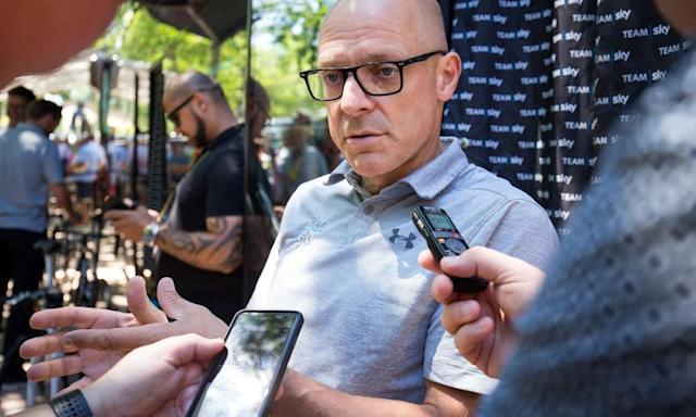 """<span class=""""element-image__caption"""">Team Sky principal Sir Dave Brailsford told one cycling journalist he was not invited to a press conference.</span> <span class=""""element-image__credit"""">Photograph: SWpix.com/Rex/Shutterstock</span>"""