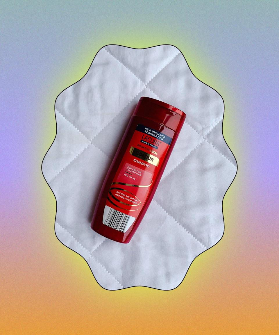 """I can't stop talking about Lacura's Colour Shampoo (I even dedicated an entire <a href=""""https://www.refinery29.com/en-gb/aldi-lacura-colour-shampoo"""" rel=""""nofollow noopener"""" target=""""_blank"""" data-ylk=""""slk:feature"""" class=""""link rapid-noclick-resp"""">feature</a> to it). Though it's not sulphate-free, it helps prevent colour fade better than some high-end shampoos I've tried. It makes hair soft and shiny, too. For 85p, you can't go wrong.<br><br><strong>Lacura</strong> Colour Shampoo, $, available at <a href=""""https://groceries.aldi.co.uk/en-GB/p-lacura-hair-refine-uv-colour-protect-shampoo-250ml/4088600106205"""" rel=""""nofollow noopener"""" target=""""_blank"""" data-ylk=""""slk:Aldi"""" class=""""link rapid-noclick-resp"""">Aldi</a>"""