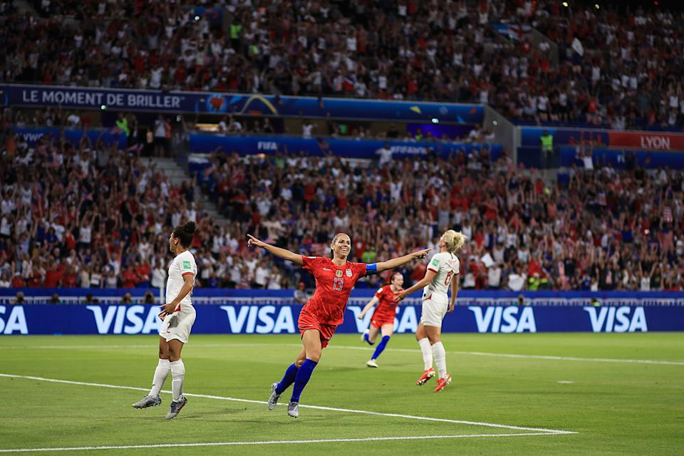 Alex Morgan of USA celebrates scoring their 2nd goal during the 2019 FIFA Women's World Cup France Semi Final match between England and USA at Stade de Lyon on July 2, 2019 in Lyon, France. (Photo by Marc Atkins/Getty Images)