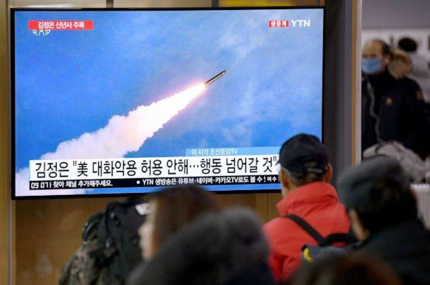 PHOTO: File footage of North Korea's missile test is shown on television news programme at a railway station in Seoul on Jan. 1, 2020.  (Jung Yeon-je/AFP via Getty Images, FILE)