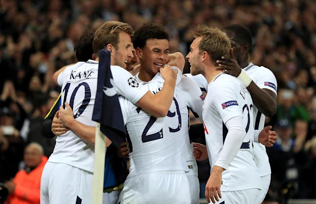 """<a class=""""link rapid-noclick-resp"""" href=""""/soccer/players/harry-kane/"""" data-ylk=""""slk:Harry Kane"""">Harry Kane</a>, <a class=""""link rapid-noclick-resp"""" href=""""/soccer/players/bamidele-alli/"""" data-ylk=""""slk:Dele Alli"""">Dele Alli</a>, <a class=""""link rapid-noclick-resp"""" href=""""/soccer/players/harry-winks/"""" data-ylk=""""slk:Harry Winks"""">Harry Winks</a>, <a class=""""link rapid-noclick-resp"""" href=""""/soccer/players/christian-eriksen/"""" data-ylk=""""slk:Christian Eriksen"""">Christian Eriksen</a> and <a class=""""link rapid-noclick-resp"""" href=""""/soccer/players/moussa-sissoko/"""" data-ylk=""""slk:Moussa Sissoko"""">Moussa Sissoko</a> celebrate a goal during Tottenham's win over <a class=""""link rapid-noclick-resp"""" href=""""/soccer/teams/real-madrid/"""" data-ylk=""""slk:Real Madrid"""">Real Madrid</a>. (Getty)"""