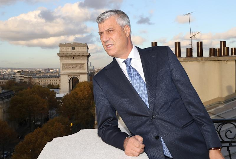 Kosovo's President Hashim Thaci poses for a picture in Paris in November 2018 during centennial commemorations for the end of World War I