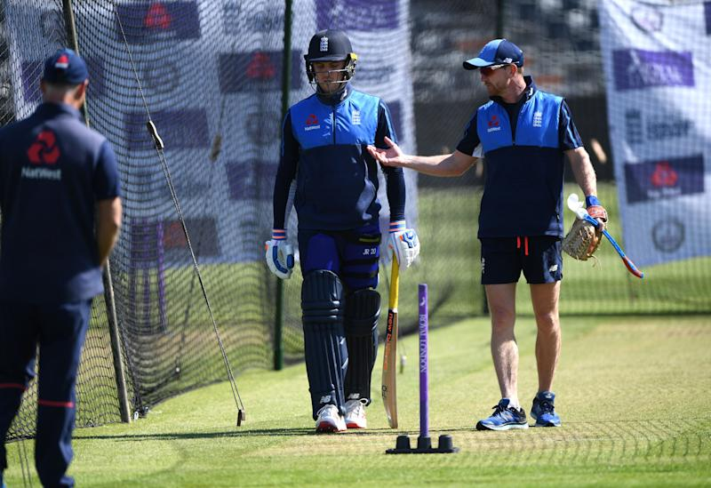 England player Jason Roy with coach Paul Collingwood in the nets. (Credit: Getty Images).
