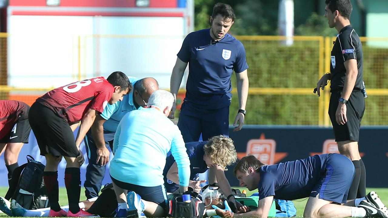 The Under-17 international was knocked unconscious in a sickening clash during England's win over Turkey, but has now confirmed that he is recovering