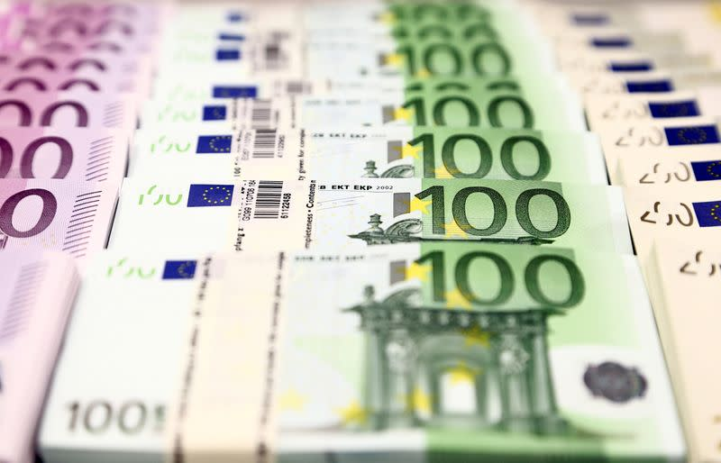 FILE PHOTO: Euro currency bills are pictured at the Croatian National Bank in Zagreb