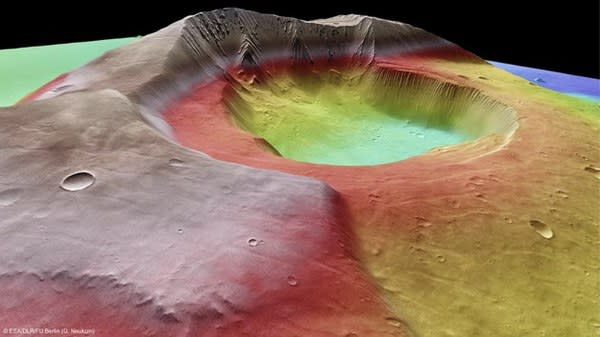 The expansive crater located in the center of the volcano resulted from the loss of supportive magma that the mountain spewed billions of years ago. With the interior of the volcano lost, its roof caved in, forming the giant hole we see today. Image Credit: ESA/DLR/FU Berlin (G. Neukum). Photo courtesy of Tecca