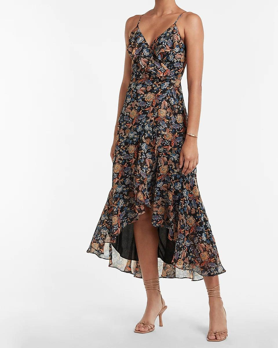 <p>We love the easiness of this <span>Express Floral Ruffle Wrap Hi-lo Maxi Dress</span> ($108), and we're planning to wear it with a brown blazer to the office. The asymmetrical hem and floral print make it stand out.</p>