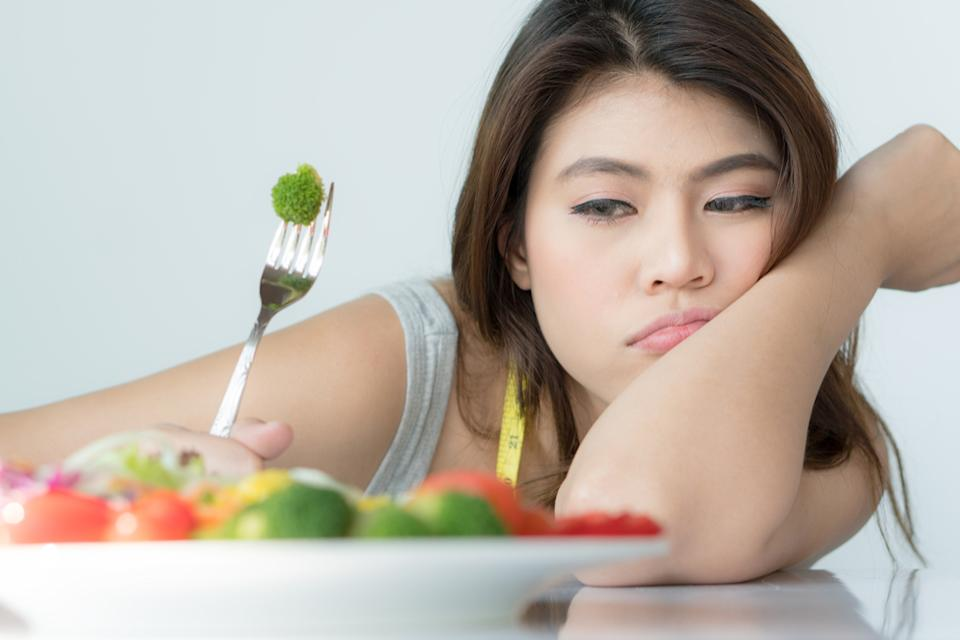 sad woman on diet, relationship white lies