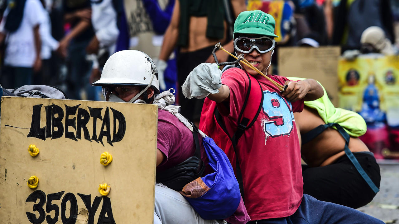 Protesters laugh off President Maduro's claims of being able to deliver full-time jobs and free food in Sunday's—instead speaking of the possibility of civil conflict.