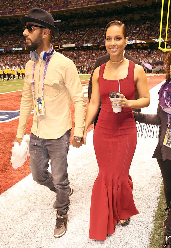 Swiss Beatz and Alicia Keys arrive to the Pepsi Super Bowl XLVII Pregame Show at Mercedes-Benz Superdome on February 3, 2013 in New Orleans, Louisiana.  (Photo by Christopher Polk/Getty Images)