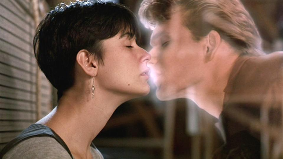 """LOS ANGELES - JULY 13: The movie """"Ghost"""", directed by Jerry Zucker and written by Bruce Joel Rubin. Seen here, (from left) Demi Moore as Molly Jensen and Patrick Swayze as Sam Wheat in ghost form. Initial theatrical release July 13, 1990. Screen capture. Paramount Pictures. (Photo by CBS via Getty Images)"""