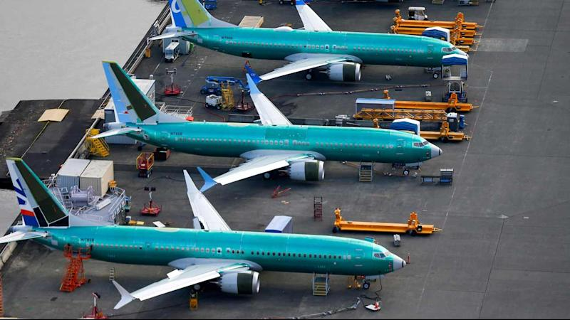 An aerial photo shows Boeing 737 MAX airplanes parked at the Boeing Factory in Renton, Washington, US. Image: Reuters.
