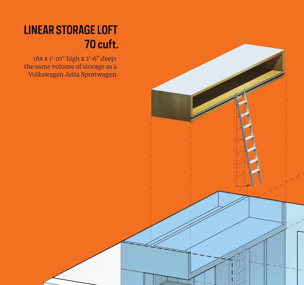 New York micro-apartment design winner announced orange linear storage loft