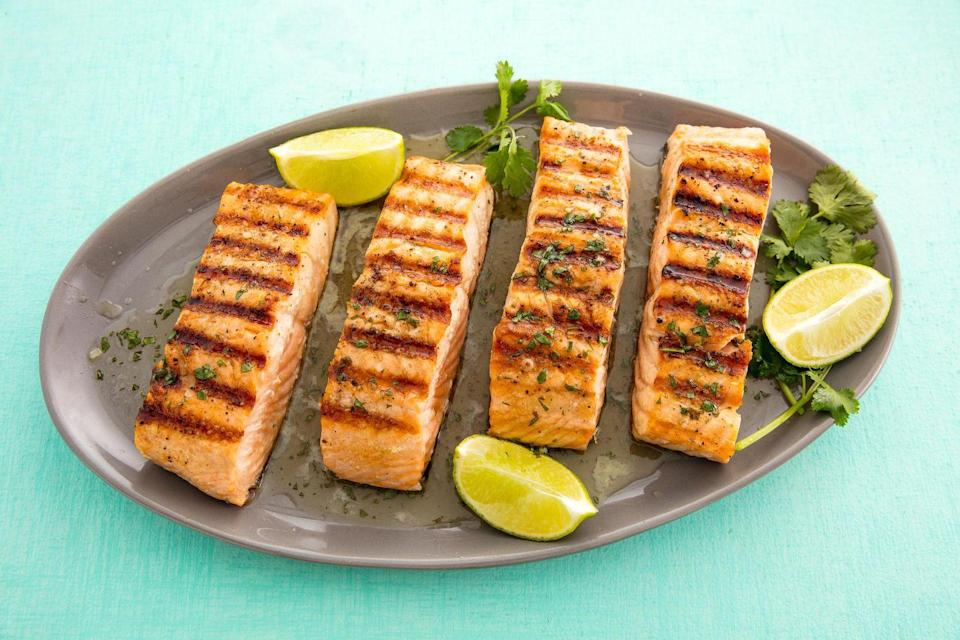 """<p>Time to dust off the grill.</p><p>Get the recipe from <a href=""""https://www.delish.com/cooking/recipe-ideas/recipes/a58718/best-grilled-salmon-fillets-recipe/"""" rel=""""nofollow noopener"""" target=""""_blank"""" data-ylk=""""slk:Delish."""" class=""""link rapid-noclick-resp"""">Delish.</a> </p>"""
