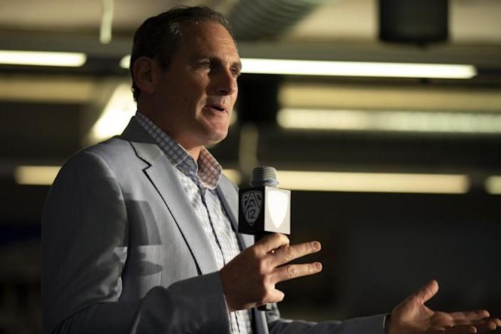 """Pac-12 Commissioner Larry Scott speaks during a news conference in October 2019. <span class=""""copyright"""">(D. Ross Cameron / Associated Press)</span>"""