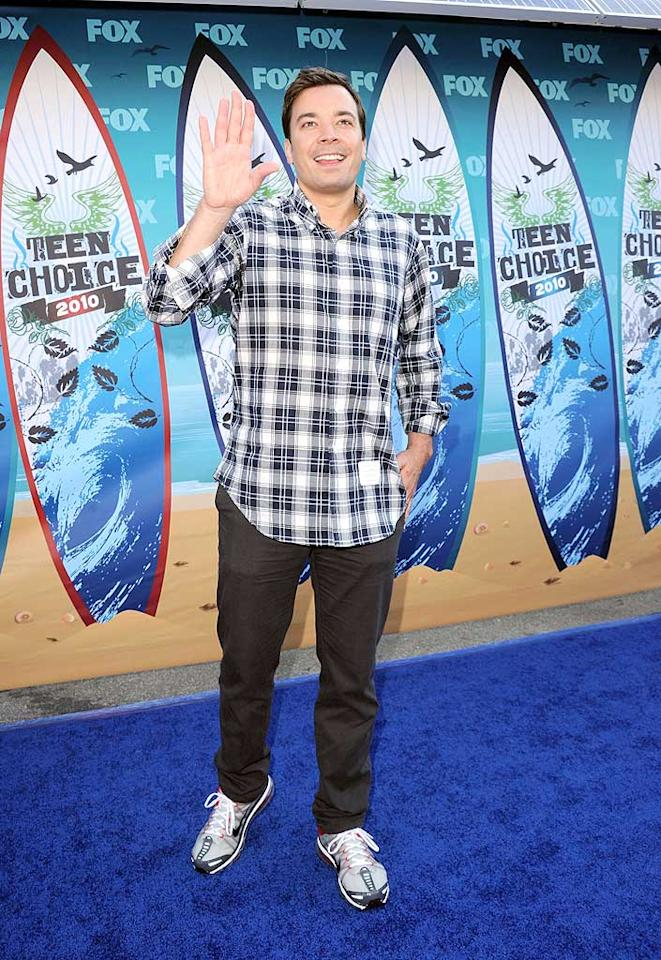 """<b>Jimmy Fallon (Grade: D )</b>  The talk show host -- who better step it up when he hosts the 62nd Primetime Emmy Awards on August 29 -- dorked out in a plaid shirt, mud-colored trousers, and running shoes. Jason Merritt/<a href=""""http://www.gettyimages.com/"""" target=""""new"""">GettyImages.com</a> - August 8, 2010"""