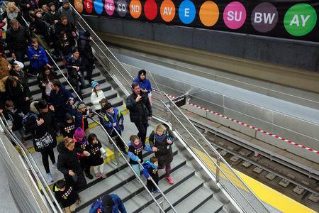 Visitors walk to the platform at the 96th Street Station during a preview event for the Second Avenue subway line in Manhattan, New York City, U.S., December 22, 2016. REUTERS/Andrew Kelly