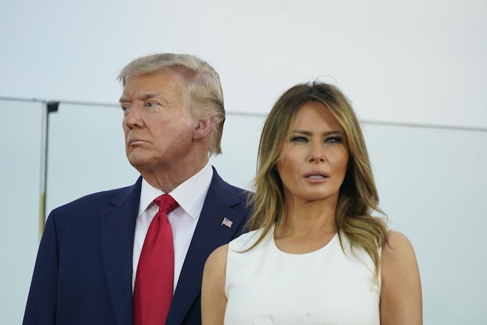 July 4, 2020 - Washington, DC, United States: United States President Donald Trump and First lady Melania Trump participate in the 2020 Salute to America at the White House. (Chris Kleponis / Pool/Sipa USA) /// Trump
