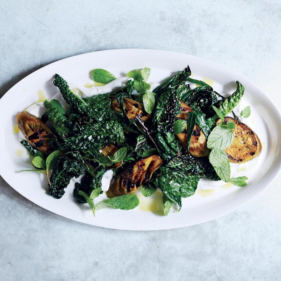 """Greens, 2.0. Move past winter's long, heavy braises and make these ready for the weather with a quick (like, 2 minutes quick) sear on the grill. <a href=""""https://www.epicurious.com/recipes/food/views/grilled-eggplant-and-greens-with-spiced-yogurt-51239710?mbid=synd_yahoo_rss"""" rel=""""nofollow noopener"""" target=""""_blank"""" data-ylk=""""slk:See recipe."""" class=""""link rapid-noclick-resp"""">See recipe.</a>"""