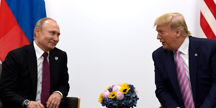 FILE - In this June 28, 2019, file photo, President Donald Trump, right, meets with Russian President Vladimir Putin during a bilateral meeting on the sidelines of the G-20 summit in Osaka, Japan. The U.S. and Russia have agreed to start arms control talks this month as the only remaining treaty between the two largest nuclear powers is poised to expire in less than a year, Marshall Billingslea, the president's special envoy for arms control, said Monday, June 8, 2020.  (AP Photo/Susan Walsh, File)