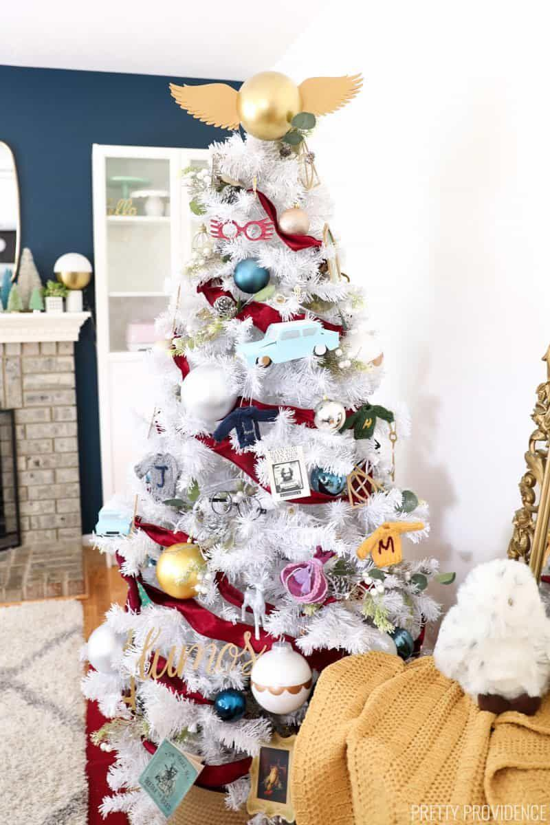 """<p>Potterheads and Potter-haters alike will love this tree for its sheer creativity, incorporation of all things fiction, and fun miniDIY projects that come with it. <br></p><p><strong><em>Get the tutorial at <a href=""""https://prettyprovidence.com/harry-potter-christmas-tree/"""" rel=""""nofollow noopener"""" target=""""_blank"""" data-ylk=""""slk:Pretty Providence"""" class=""""link rapid-noclick-resp"""">Pretty Providence</a>.</em></strong></p><p><a class=""""link rapid-noclick-resp"""" href=""""https://www.amazon.com/Noble-Collection-Potters-Hogwarts-Ornament/dp/B002WU3SUU?tag=syn-yahoo-20&ascsubtag=%5Bartid%7C10070.g.2025%5Bsrc%7Cyahoo-us"""" rel=""""nofollow noopener"""" target=""""_blank"""" data-ylk=""""slk:BUY 'HARRY POTTER' ORNAMENTS"""">BUY 'HARRY POTTER' ORNAMENTS</a></p>"""