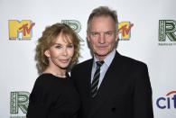 Recording artist Sting, right, and wife Trudie Styler arrive at the 30th anniversary Rainforest Fund Benefit Concert at the Beacon Theatre on Monday, Dec. 9, 2019, in New York. (Photo by Evan Agostini/Invision/AP)