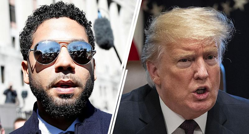 Jussie Smollett; President Trump (Yahoo News photo Illustration; photos: Reuters, Getty)