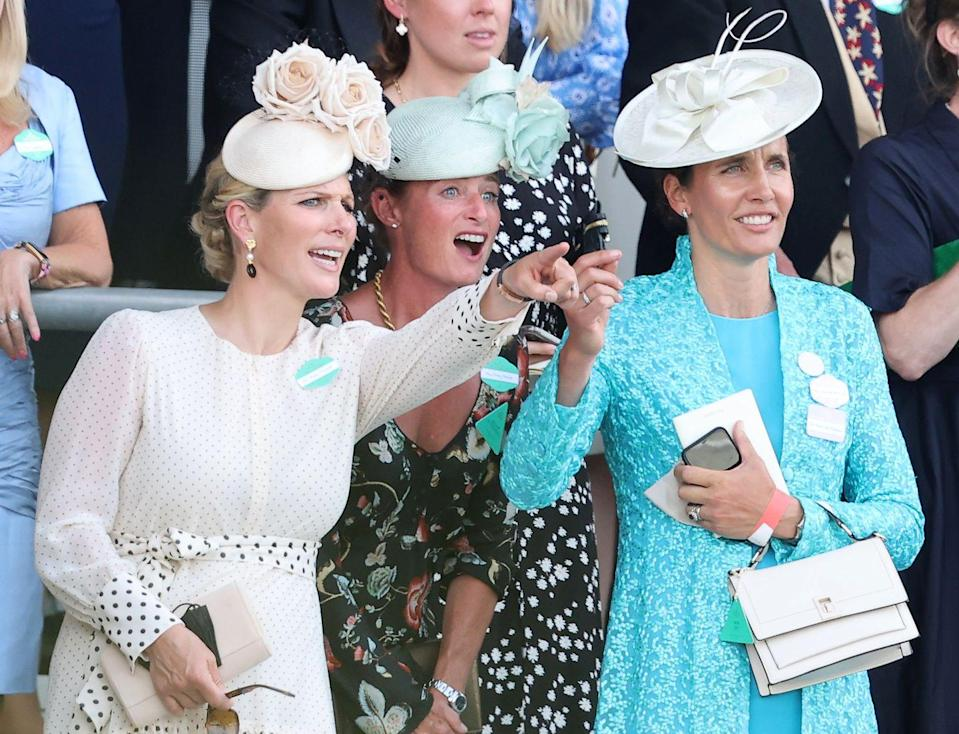 <p>Zara Tindall and friends attend Royal Ascot on June 15, 2021.</p>